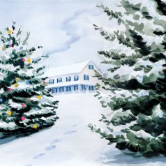"Snow at Home 10'H X 14""W (25.4cm x35.56cm)"