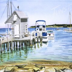 "Vineyard Harbor 12:h x 16""w (30.48cm x 40.64cm) Original Sold"