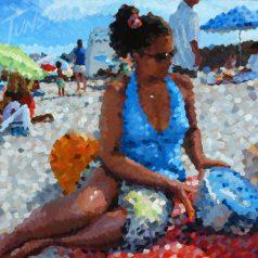 """Lady in Blue 36""""h x 48""""w (91.44cm x 122cm) Original Sold"""