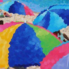 """MultiColor Umbrellas 24""""h x 48""""w (60.96cm x 122cm)"""