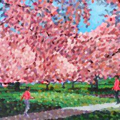 """Red Cherry Blossoms 24""""h x 30""""w (60.96cm 76.20cm) Original Sold"""