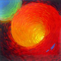"Red Vortex 36""h x 36""w (91.44cm x 91.44cm) Original sold"