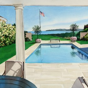 "Pool House View 12""h x 16""w (35.56cm x 40.64cm)"